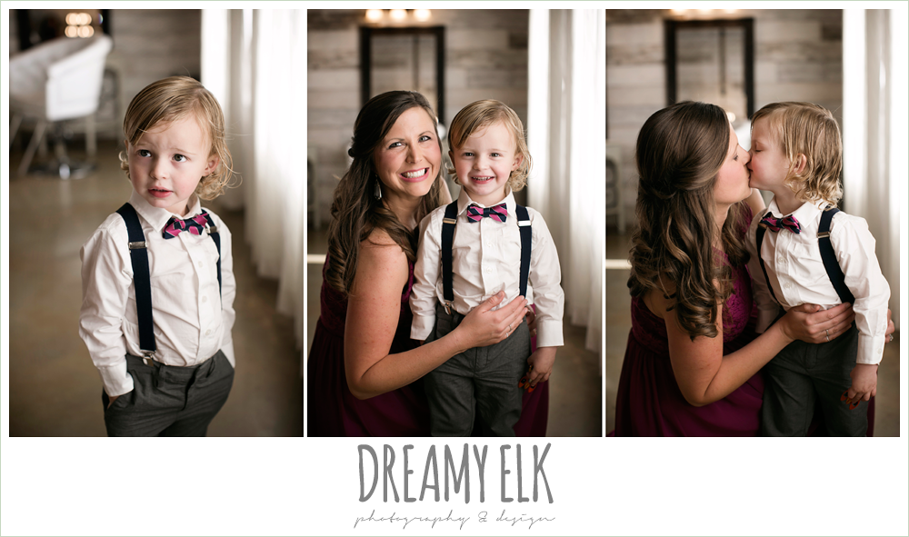 mulberry bridesmaid dress, ring bearer in bow tie and suspenders, rustic chic, spring wedding photo, big sky barn, montgomery, texas {dreamy elk photography and design}