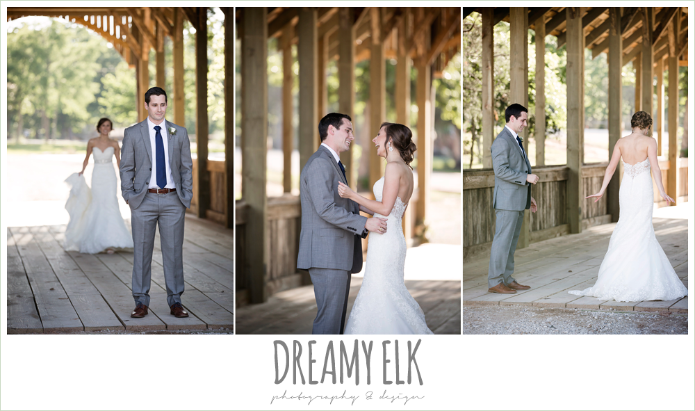 bride and groom first look, lace sweetheart mermaid wedding dress, rustic chic, spring wedding photo, big sky barn, montgomery, texas {dreamy elk photography and design}