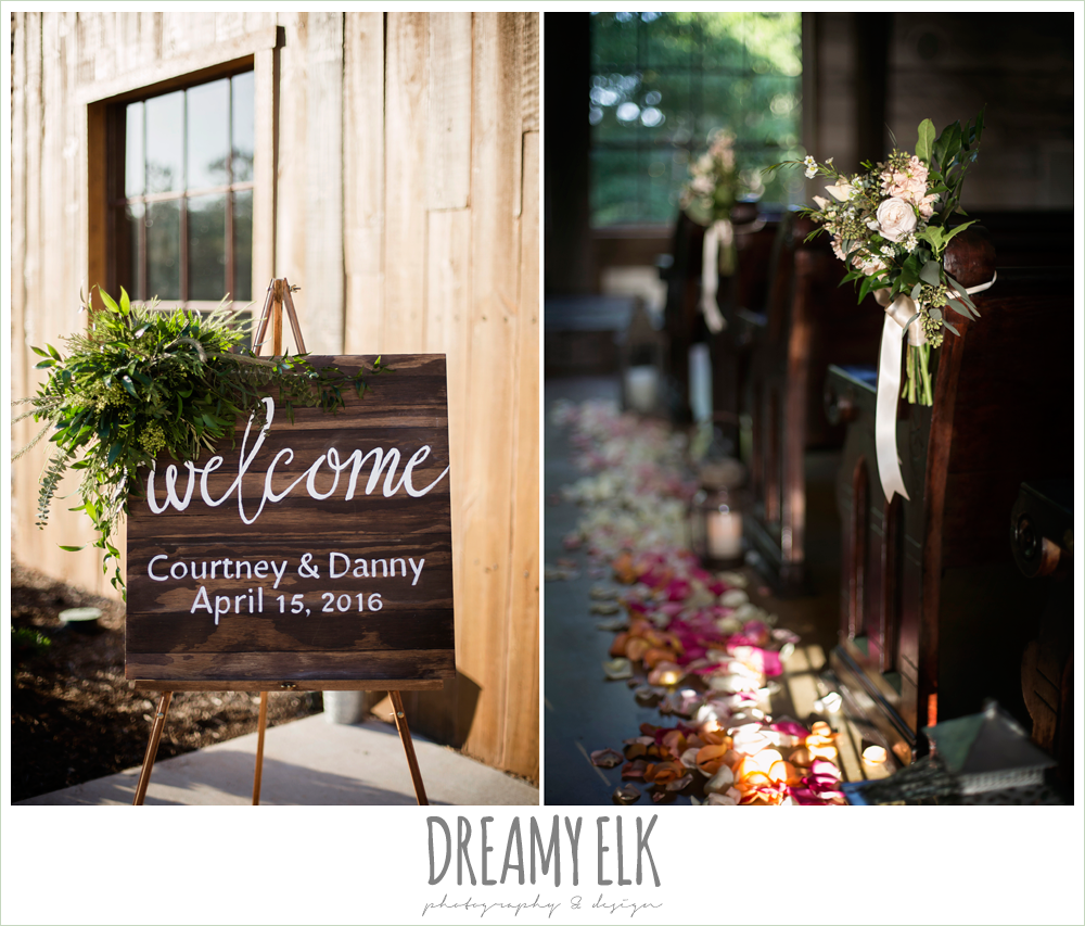 wooden welcome wedding sign, aisle markers, ceremony flowers, rustic chic, spring wedding photo, big sky barn, montgomery, texas {dreamy elk photography and design}
