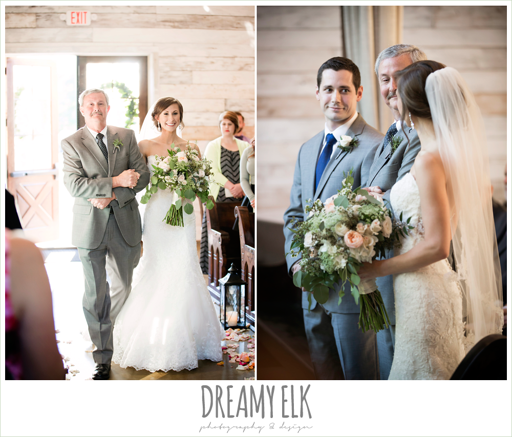 bride walking down the aisle, lace mermaid wedding dress, rustic chic, spring wedding photo, big sky barn, montgomery, texas {dreamy elk photography and design}