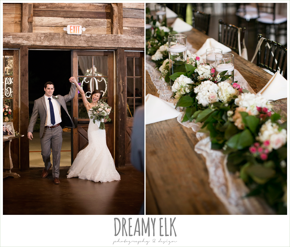 bride and groom entering reception, wedding reception decorations, rustic chic, spring wedding photo, big sky barn, montgomery, texas {dreamy elk photography and design}