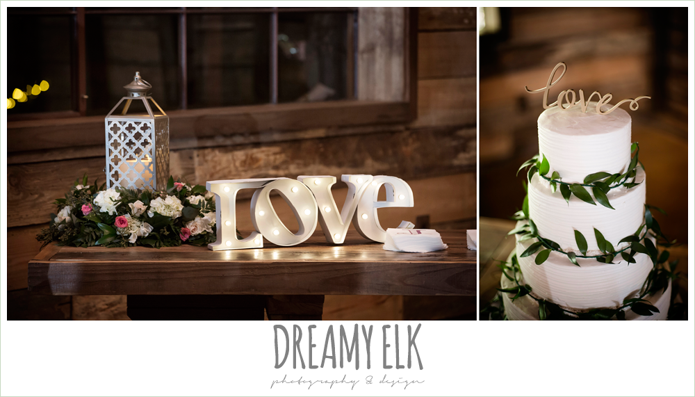 white wedding cake, love cake topper, wedding reception decorations, rustic chic, spring wedding photo, big sky barn, montgomery, texas {dreamy elk photography and design}