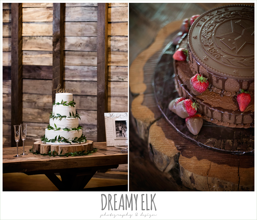 white wedding cake, chocolate groom's cake, wedding reception decorations, rustic chic, spring wedding photo, big sky barn, montgomery, texas {dreamy elk photography and design}