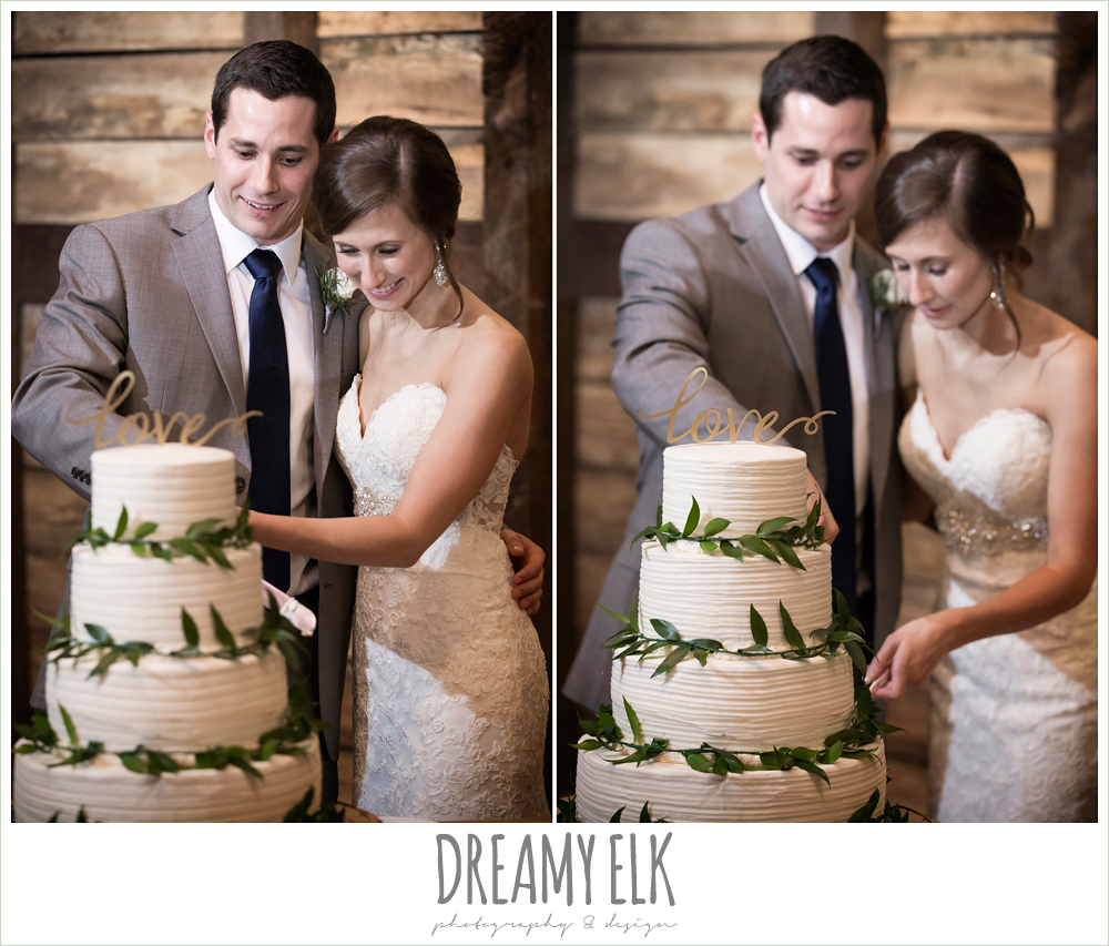 bride and groom cutting cake, wedding reception decorations, rustic chic, spring wedding photo, big sky barn, montgomery, texas {dreamy elk photography and design}
