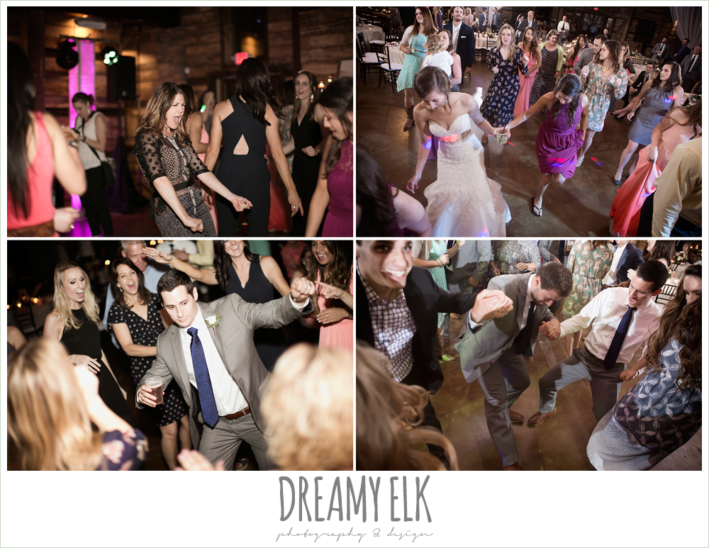 guests dancing at wedding reception, wedding reception decorations, rustic chic, spring wedding photo, big sky barn, montgomery, texas {dreamy elk photography and design}