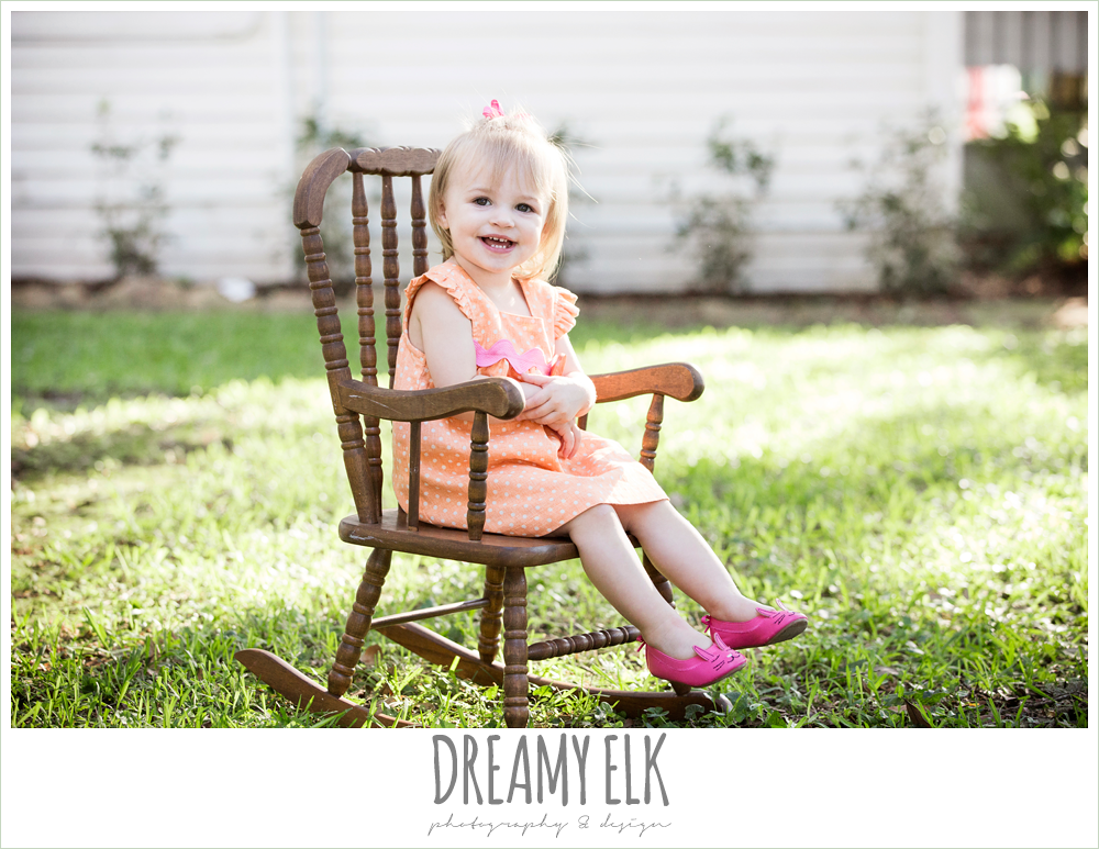 18 month old photo, photo of girl toddler outside, rocking chair