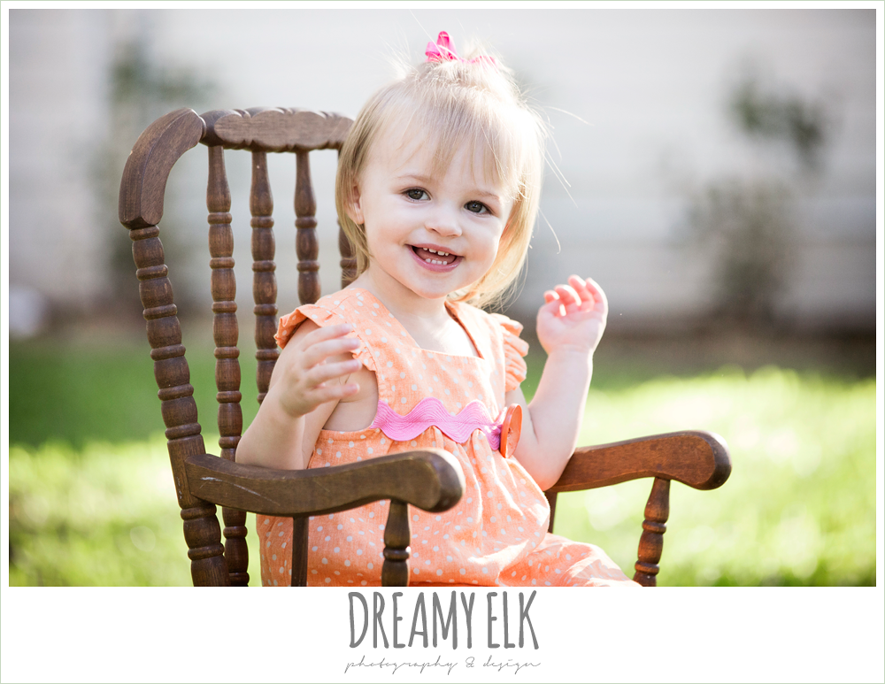 18 month old photo, photo of girl toddler sitting in rocking chair outside