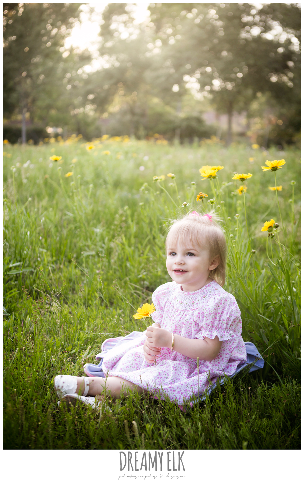 18 month old photo, photo of girl toddler outside in field of wildflowers