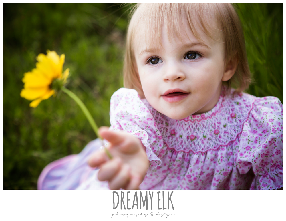 18 month old photo, photo of girl toddler outside with wildflowers