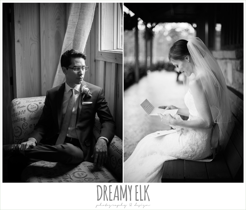 black and white, bride reading letter, bride and groom, spring wedding at crystal springs, houston, texas {dreamy elk photography and design}