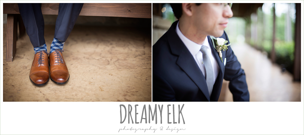 groom's brown wedding shoes, navy suit, spring wedding at crystal springs, houston, texas {dreamy elk photography and design}