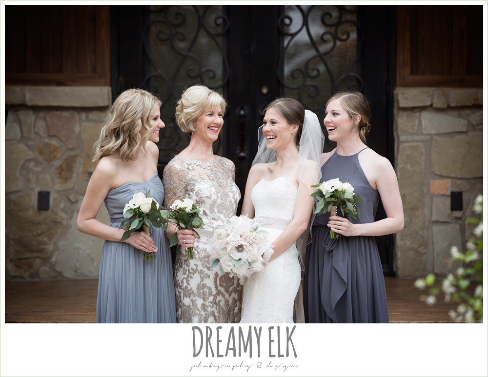 strapless lace pronovias wedding dress, rhinestone blush belt, mix and matched gray bridesmaids dresses, heb blooms, bridal party, bride with sisters and mom, navy gray and white wedding, rainy april spring wedding at crystal springs, houston, texas {dreamy elk photography and design}