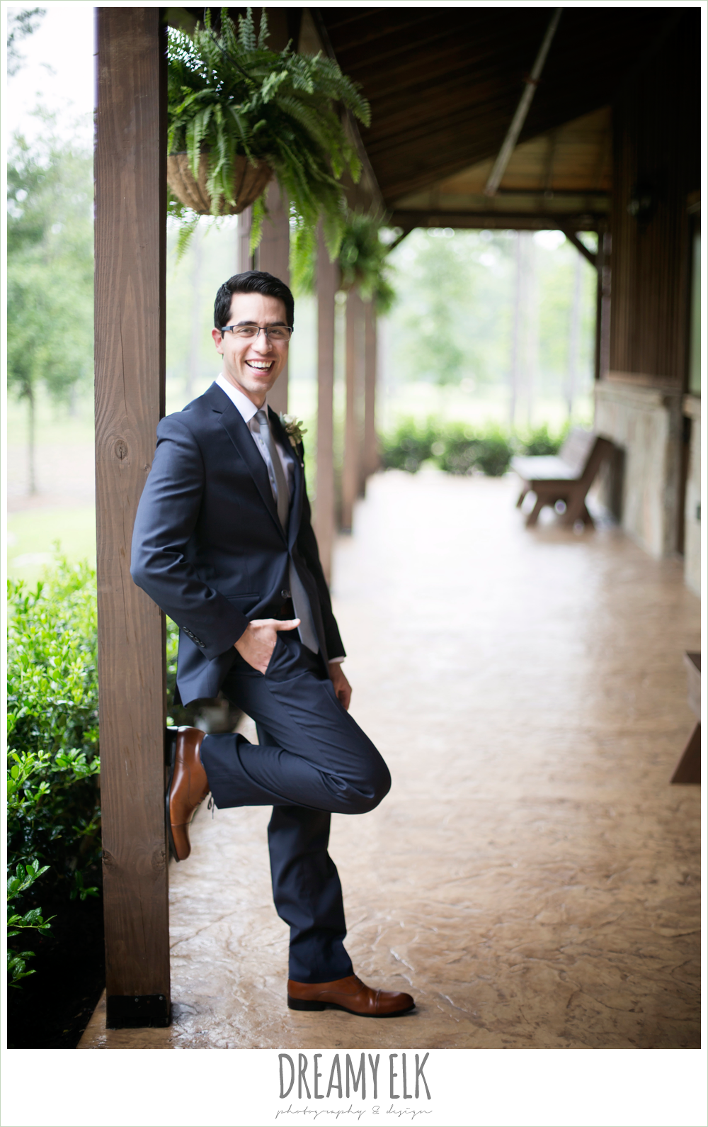 groom in navy suit, navy gray and white wedding, spring rainy wedding at crystal springs, houston, texas {dreamy elk photography and design}