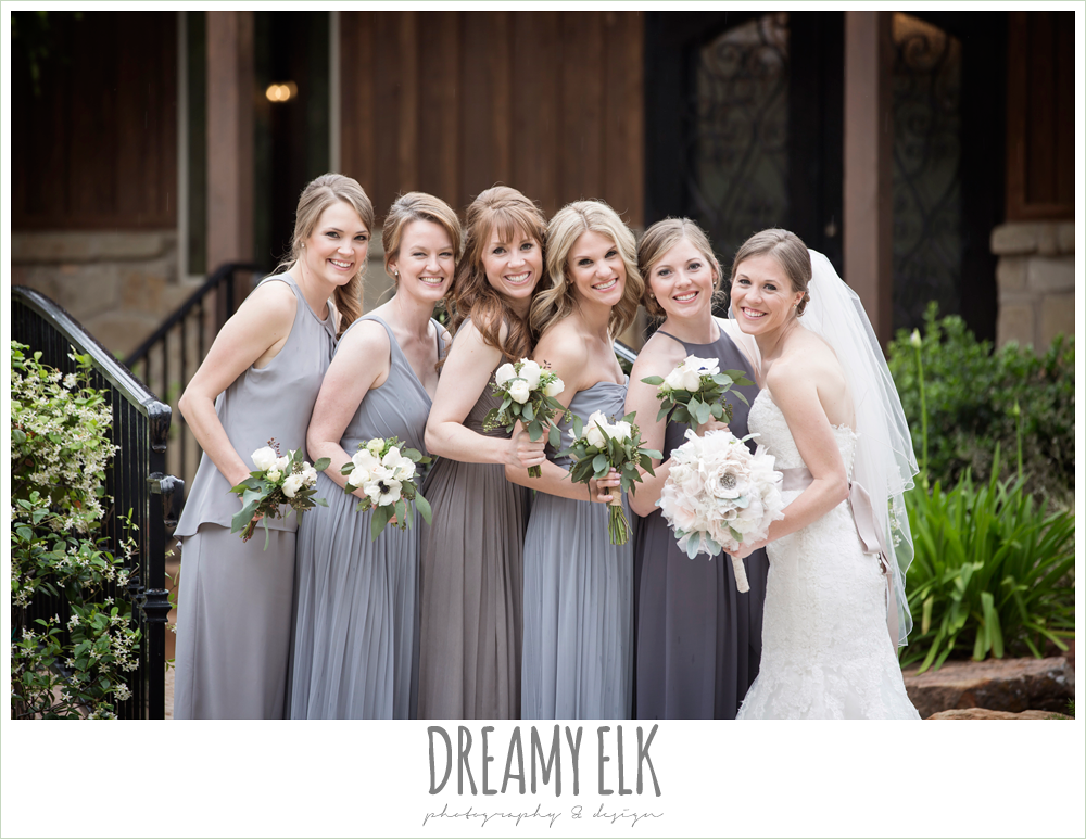 strapless lace pronovias wedding dress, rhinestone blush belt, mix and matched gray bridesmaids dresses, heb blooms, bridal party, navy gray and white wedding, rainy april spring wedding at crystal springs, houston, texas {dreamy elk photography and design}