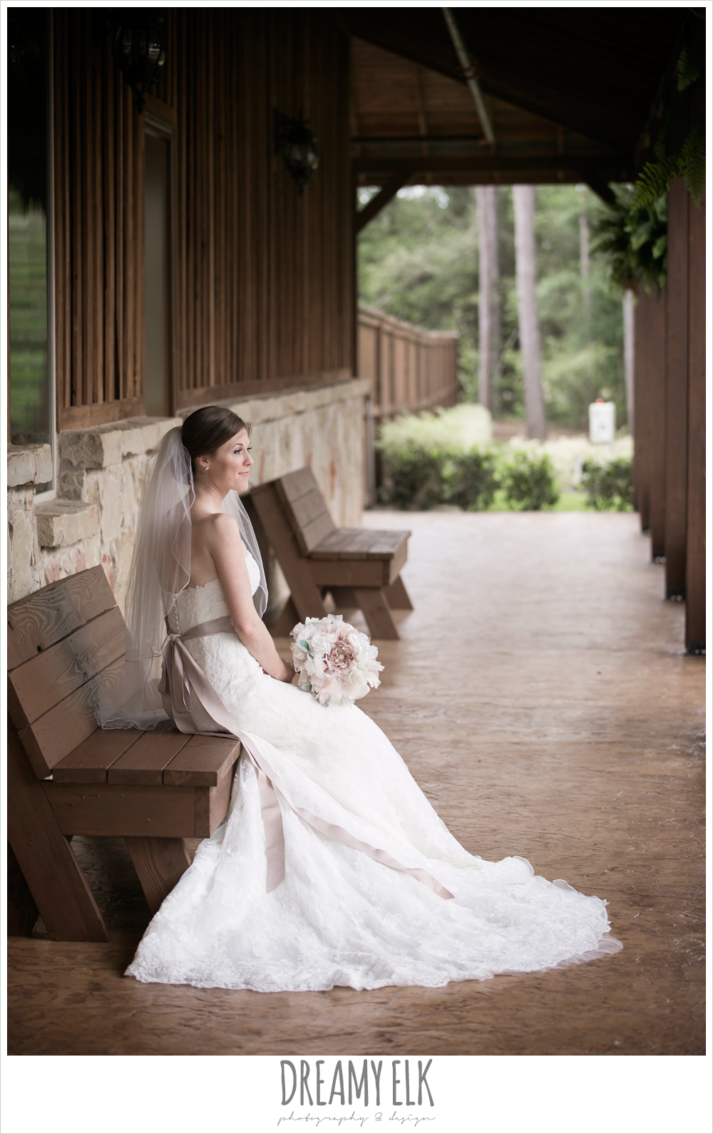 strapless lace pronovias wedding dress, rhinestone blush belt, bridal portrait, bride, navy gray and white wedding, rainy april spring wedding at crystal springs, houston, texas {dreamy elk photography and design}
