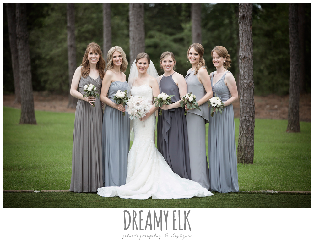 strapless lace pronovias wedding dress, rhinestone blush belt, mix and matched gray bridesmaids dresses, heb blooms, bridal party, navy gray and white wedding, april spring rainy wedding at crystal springs, houston, texas {dreamy elk photography and design}