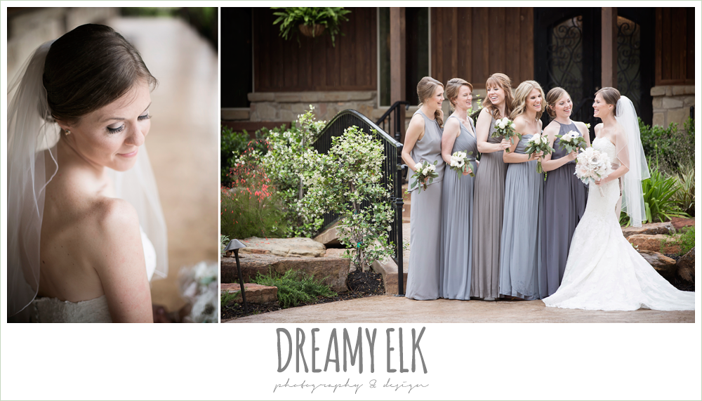 mix and matched gray bridesmaids dresses, heb blooms, bridal party, navy gray and white wedding, april spring rainy wedding at crystal springs, houston, texas {dreamy elk photography and design}