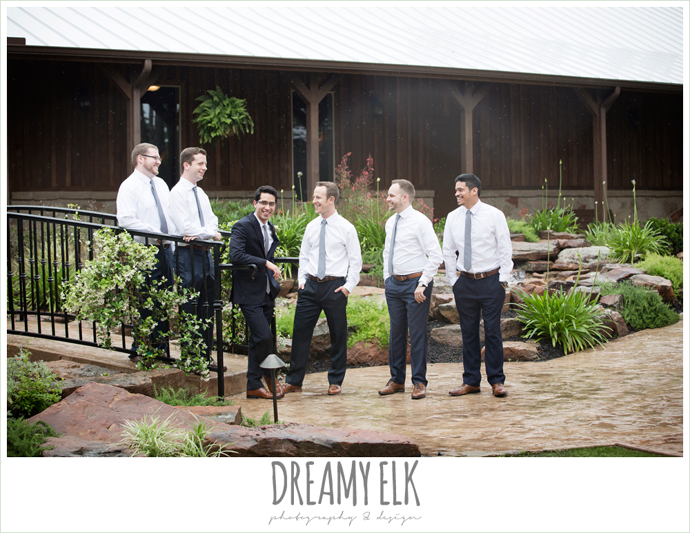 groom and groomsmen, white shirts navy pants and gray ties, navy gray and white wedding, spring rainy wedding at crystal springs, houston, texas {dreamy elk photography and design}