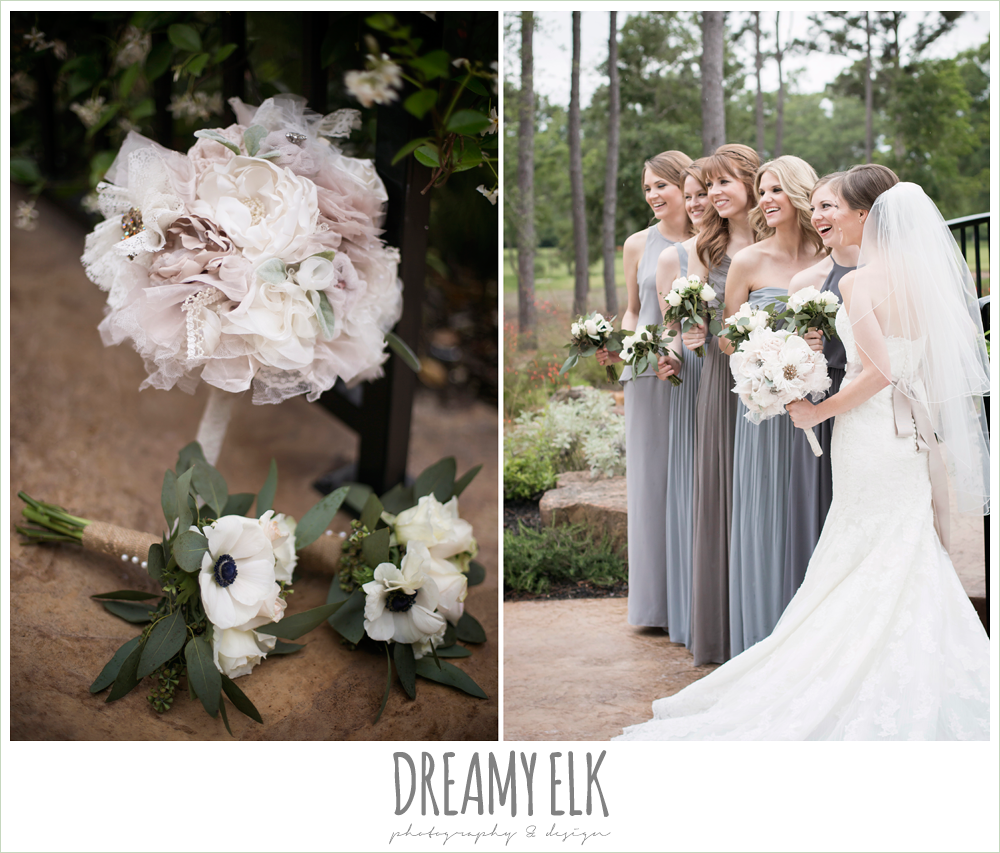 mix and matched gray bridesmaids dresses, heb blooms, bridal party, strapless lace pronovias wedding dress, rhinestone blush belt, navy gray and white wedding, april spring rainy wedding at crystal springs, houston, texas {dreamy elk photography and design}