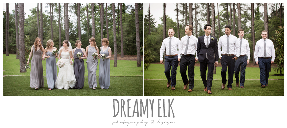 groom and groomsmen, white shirts navy pants and gray ties, mix and matched gray bridesmaids dresses, heb blooms, bridal party, navy gray and white wedding, spring rainy wedding at crystal springs, houston, texas {dreamy elk photography and design}