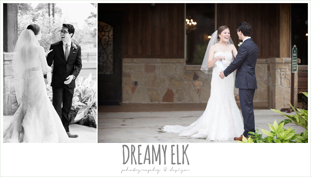 bride and groom first look, navy gray and white wedding, spring rainy wedding at crystal springs, houston, texas {dreamy elk photography and design}
