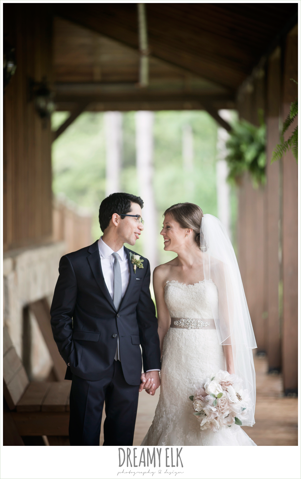 bride and groom, strapless lace pronovias wedding dress, navy suit and blue tie, navy gray and white wedding, spring rainy wedding at crystal springs, houston, texas {dreamy elk photography and design}