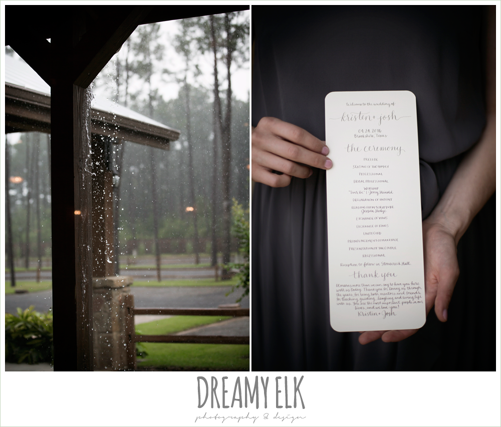 wedding program, navy gray and white wedding, spring rainy wedding at crystal springs, houston, texas {dreamy elk photography and design}