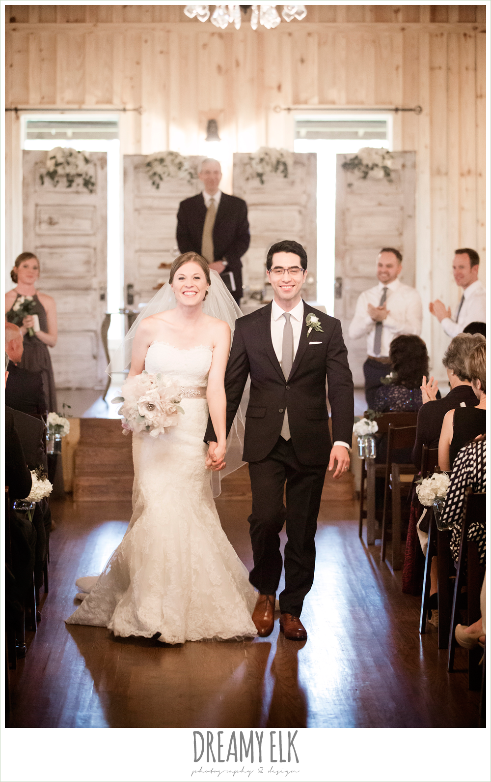 bride and groom walking down the aisle, navy gray and white wedding, spring rainy wedding at crystal springs, houston, texas {dreamy elk photography and design}