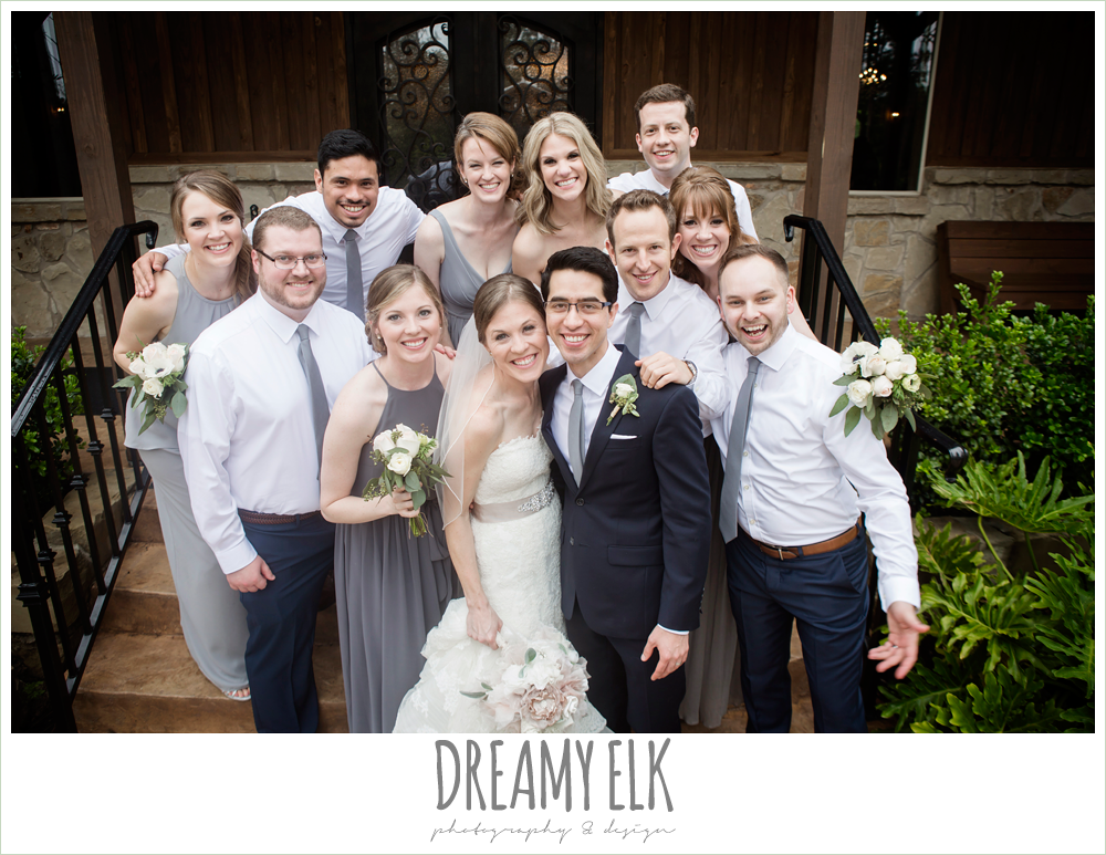 fun bridal party photo, navy gray and white wedding, spring rainy wedding at crystal springs, houston, texas {dreamy elk photography and design}