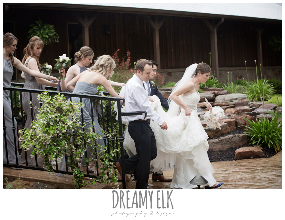 funny bridal party photo, helping the bride with her dress, navy gray and white wedding, spring rainy wedding at crystal springs, houston, texas {dreamy elk photography and design}