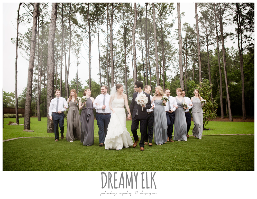 bridal party, bride and groom, mix matched long gray bridesmaids dresses, navy gray and white wedding, spring rainy wedding at crystal springs, houston, texas {dreamy elk photography and design}