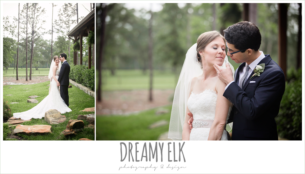 bride and groom, strapless lace pronovias wedding dress, navy suit and gray tie, navy gray and white wedding, spring rainy wedding at crystal springs, houston, texas {dreamy elk photography and design}