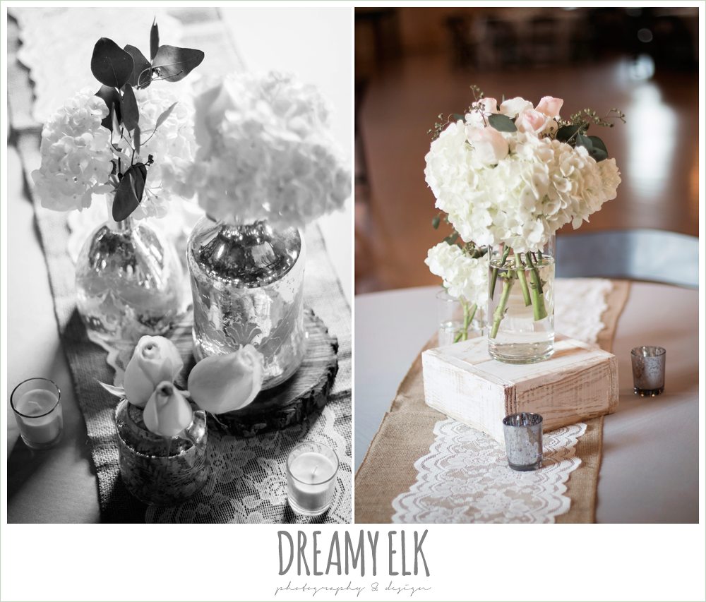 chrysanthemum centerpieces in mercury glass on wood with lace, rustic chic wedding reception table decorations, navy gray and white wedding, spring rainy wedding at crystal springs, houston, texas {dreamy elk photography and design}