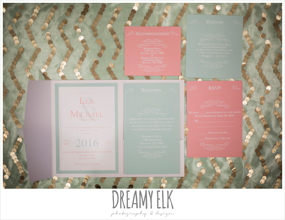 coral and mint wedding invitation, mint and gold sequin chevron table cloth, {dreamy elk photography and design}