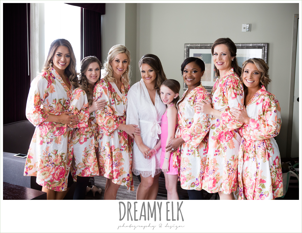 bride and bridesmaids in floral bathrobes {dreamy elk photography and design}