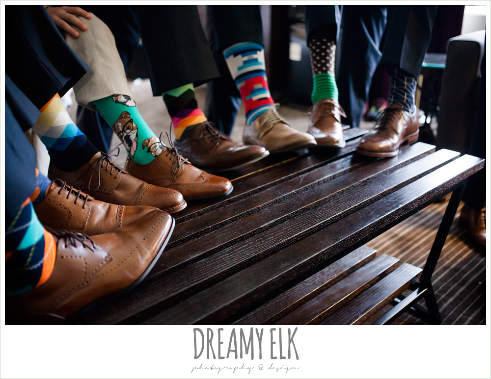 groomsmen wearing bright patterned socks {dreamy elk photography and design}