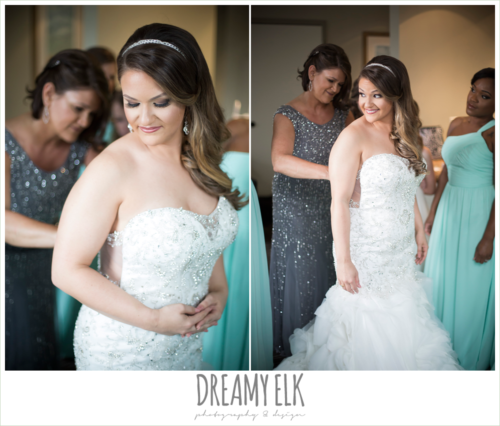 mint long bridesmaid dress, bride getting dressed, beaded sweetheart strapless wedding dress, wedding hair long over one shoulder, spring wedding, magnolia hotel, houston, texas {dreamy elk photography and design}