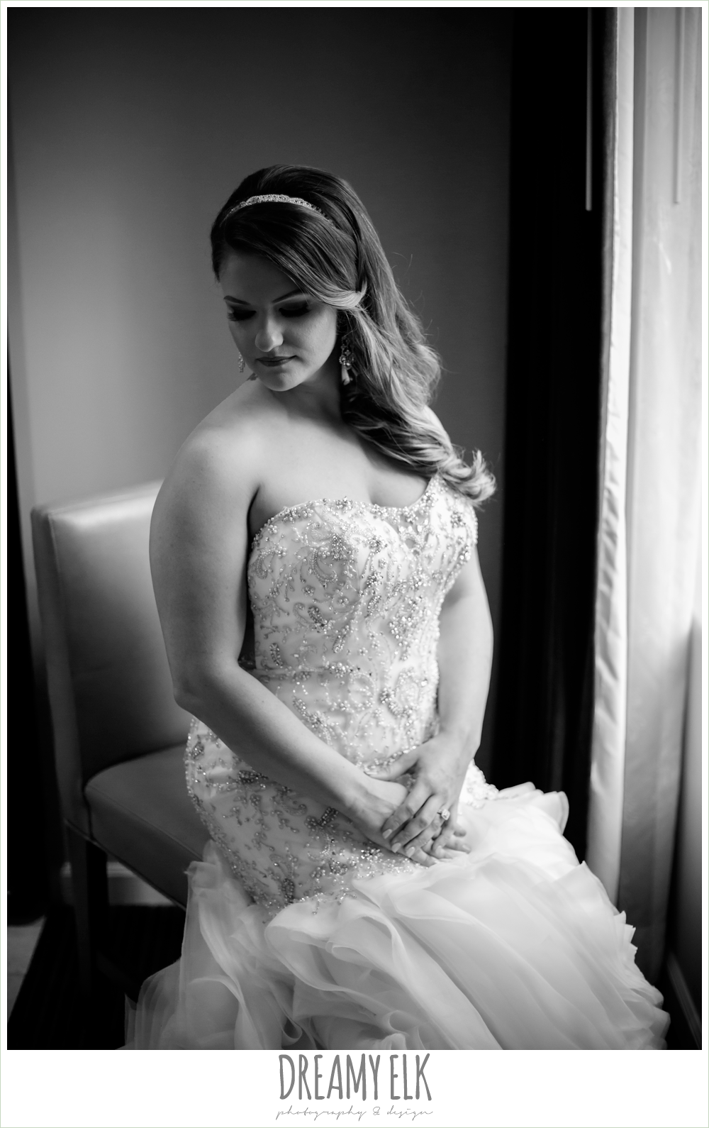 illusion back, sweetheart strapless mermaid wedding dress, wedding hair down over one shoulder, bride sitting in chair by window, spring wedding, magnolia hotel, houston, texas {dreamy elk photography and design}