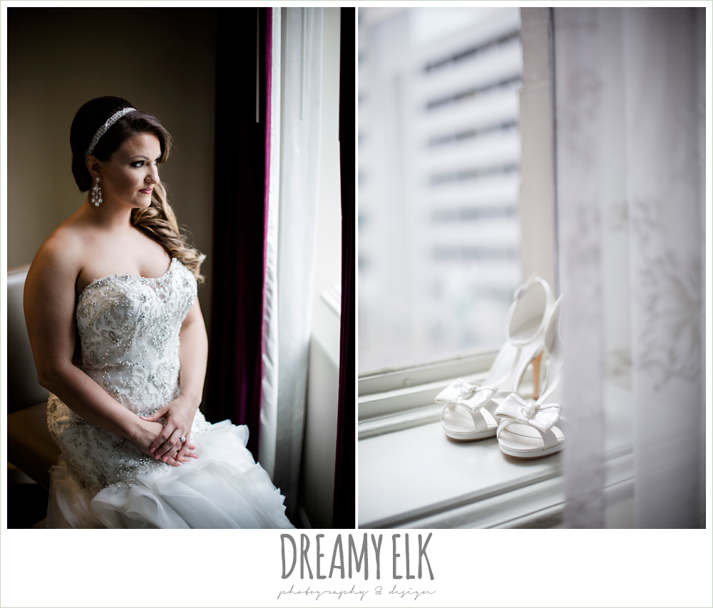 illusion back, sweetheart strapless mermaid wedding dress, wedding hair down over one shoulder, bride sitting in window, white wedding shoes with bows, spring wedding, magnolia hotel, houston, texas {dreamy elk photography and design}