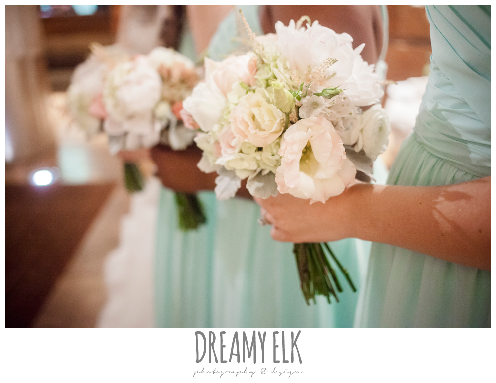 mint long bridesmaid dress, bridesmaids bouquet, aqua long chiffon bridesmaid dress, spring wedding, magnolia hotel, houston, texas {dreamy elk photography and design}