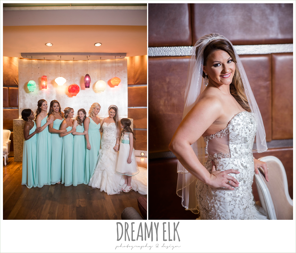 mint long bridesmaid dress, illusion back, sweetheart strapless mermaid wedding dress, wedding hair down over one shoulder, spring wedding, magnolia hotel, houston, texas {dreamy elk photography and design}