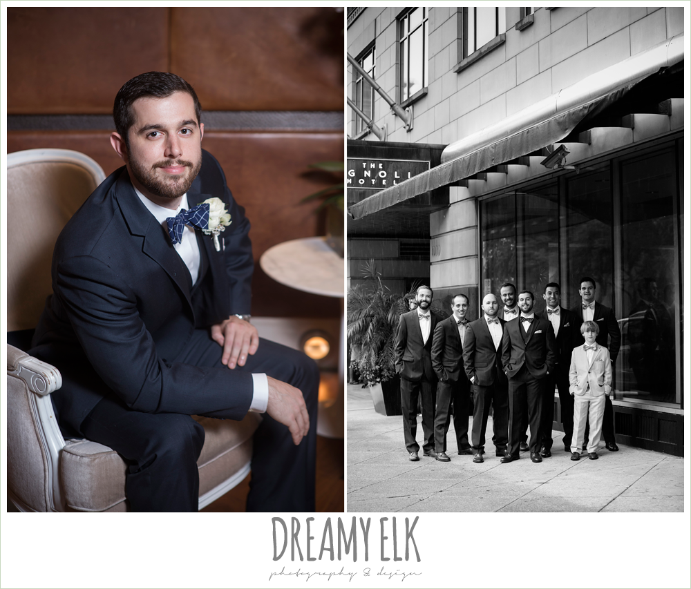 groom and groomsmen in navy suits with bowties, spring wedding, magnolia hotel, houston, texas {dreamy elk photography and design}