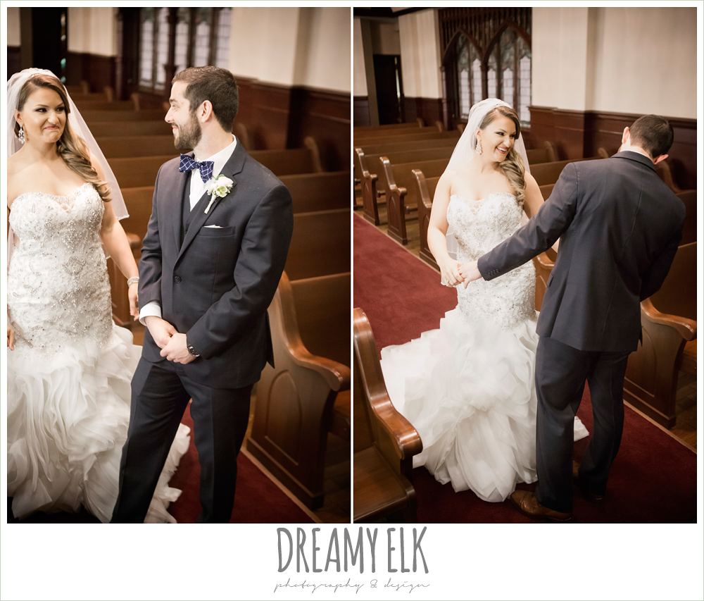 illusion back, sweetheart strapless mermaid wedding dress, ruffle skirt, wedding hair down over one shoulder, first methodist church chapel, first look, bride and groom, spring wedding, magnolia hotel, houston, texas {dreamy elk photography and design}