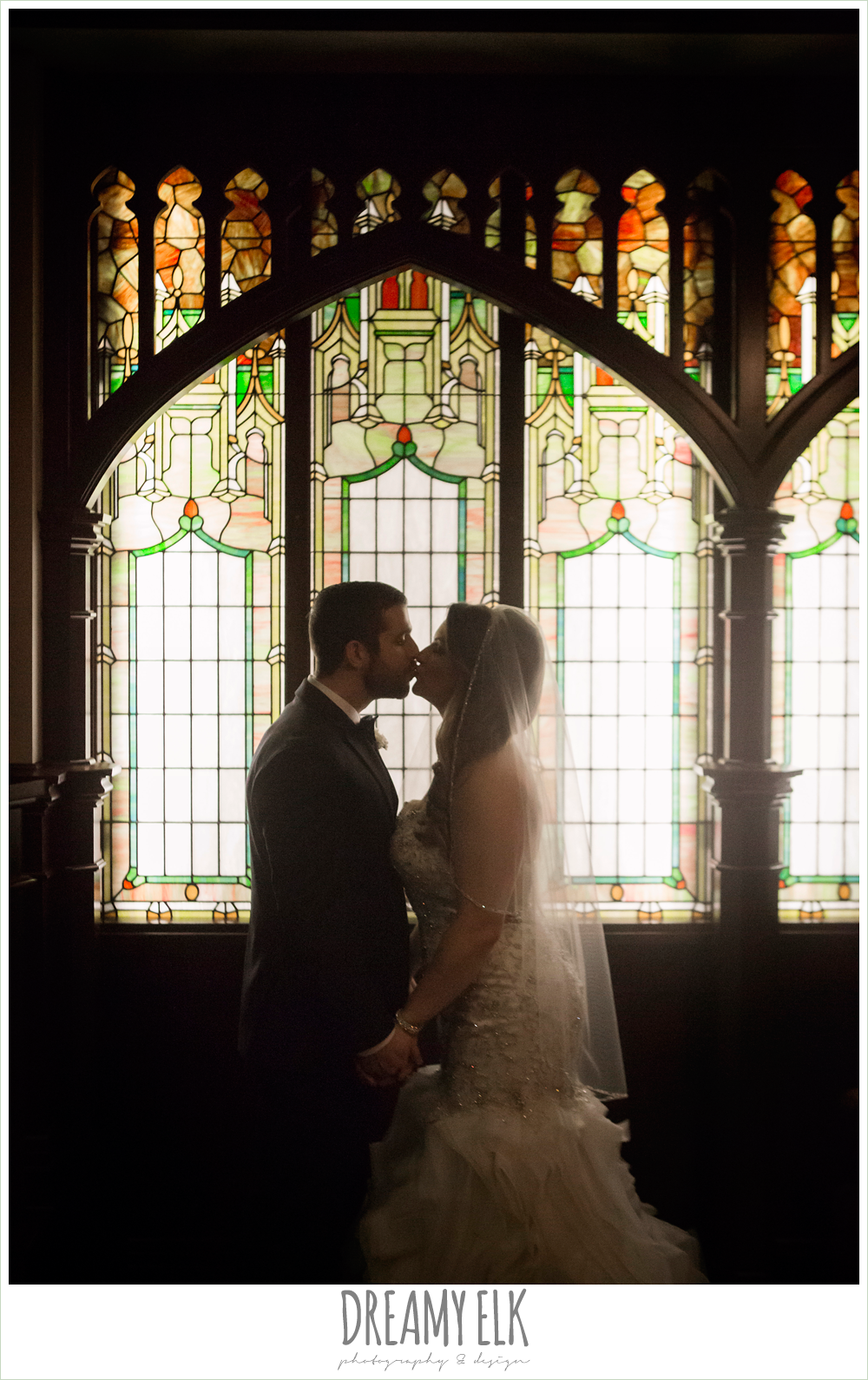 illusion back, sweetheart strapless mermaid wedding dress, wedding hair down over one shoulder, ruffle skirt, first methodist church chapel, bride and groom, stained glass, spring wedding, magnolia hotel, houston, texas {dreamy elk photography and design}