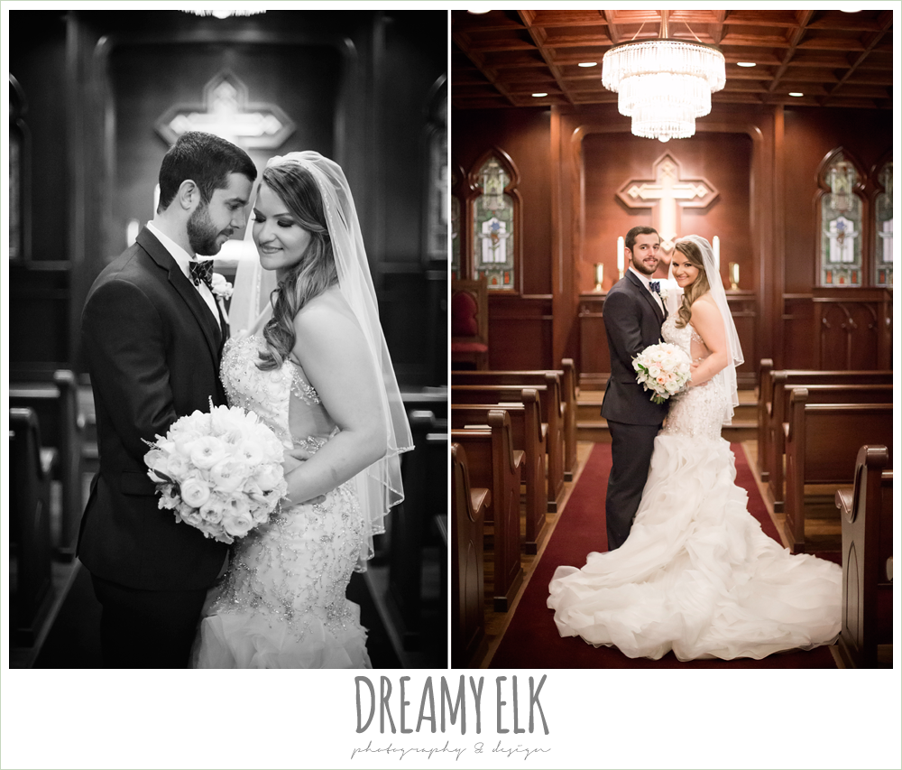 illusion back, sweetheart strapless mermaid wedding dress, wedding hair down over one shoulder, ruffle skirt, first methodist church chapel, bride and groom portraits, spring wedding, magnolia hotel, houston, texas {dreamy elk photography and design}