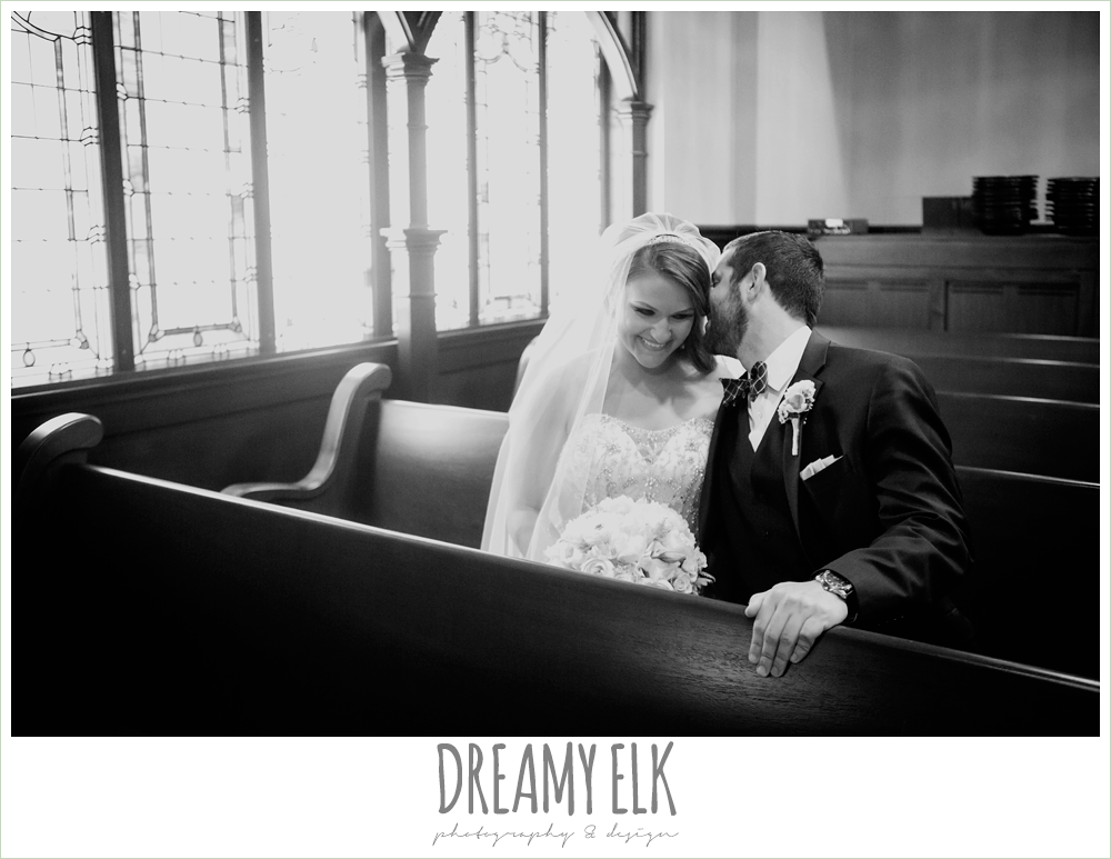 bride and groom sitting in the pew, spring wedding, magnolia hotel, houston, texas {dreamy elk photography and design}