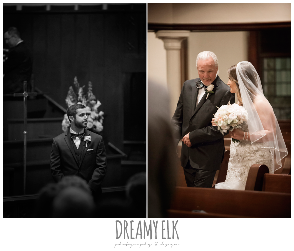 bride and dad walking down the aisle, first methodist church, spring wedding, magnolia hotel, houston, texas {dreamy elk photography and design}