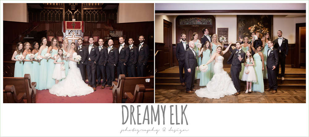 bride and groom and bridal party, first methodist church, spring wedding, magnolia hotel, houston, texas {dreamy elk photography and design}