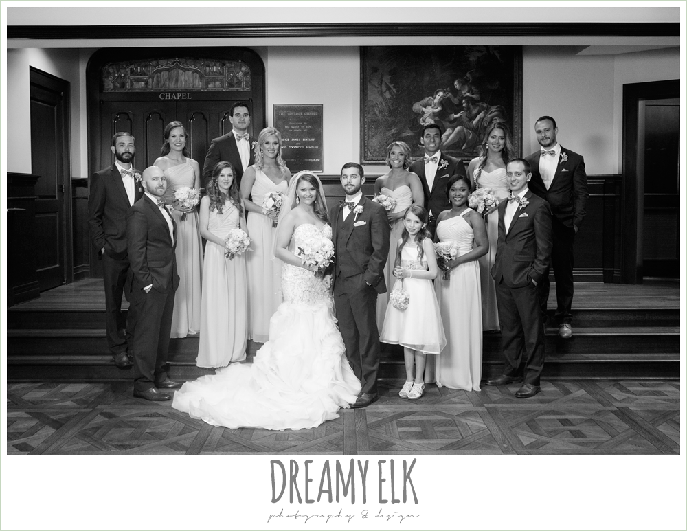 bridal party, bride and groom, bridesmaids and groomsmen, first methodist church, spring wedding, magnolia hotel, houston, texas {dreamy elk photography and design}