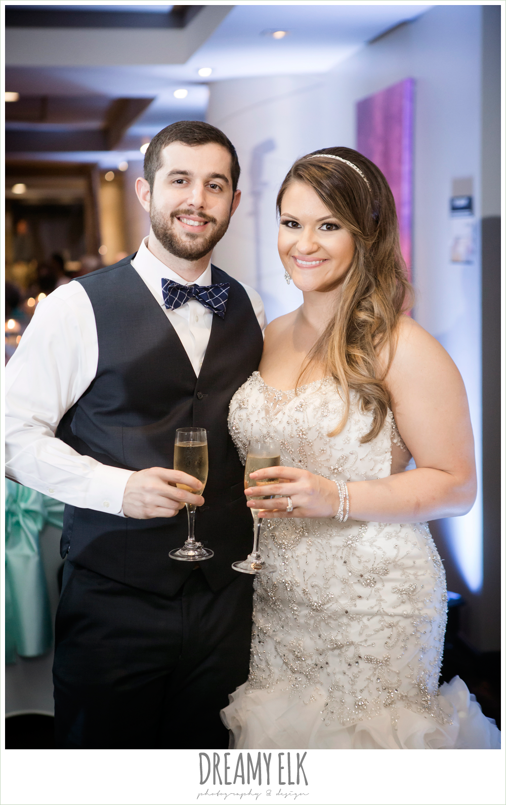 bride and groom at wedding reception, spring wedding, magnolia hotel, houston, texas {dreamy elk photography and design}